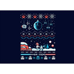 That Snow Moon Star Wars  Ugly Holiday Christmas Blue Background Birthday Cake 3d Greeting Card (7x5)