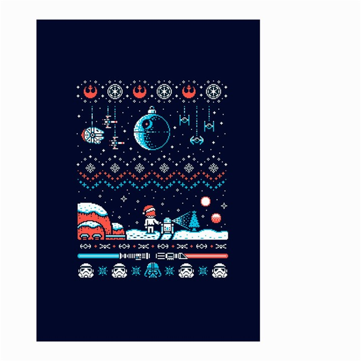 That Snow Moon Star Wars  Ugly Holiday Christmas Blue Background Small Garden Flag (Two Sides)