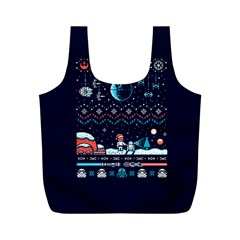 That Snow Moon Star Wars  Ugly Holiday Christmas Blue Background Full Print Recycle Bags (m)