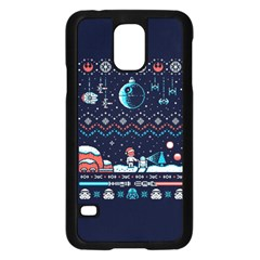 That Snow Moon Star Wars  Ugly Holiday Christmas Blue Background Samsung Galaxy S5 Case (black)