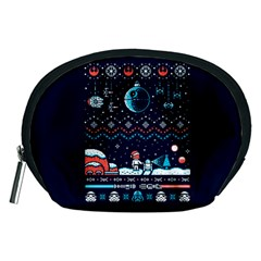 That Snow Moon Star Wars  Ugly Holiday Christmas Blue Background Accessory Pouches (medium)