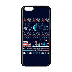 That Snow Moon Star Wars  Ugly Holiday Christmas Blue Background Apple Iphone 6/6s Black Enamel Case
