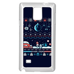 That Snow Moon Star Wars  Ugly Holiday Christmas Blue Background Samsung Galaxy Note 4 Case (white)