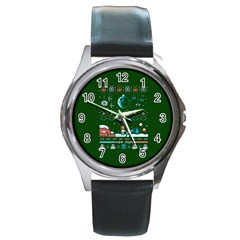 That Snow Moon Star Wars  Ugly Holiday Christmas Green Background Round Metal Watch