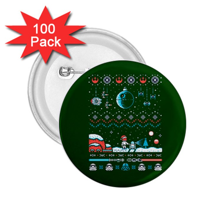 That Snow Moon Star Wars  Ugly Holiday Christmas Green Background 2.25  Buttons (100 pack)