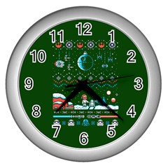That Snow Moon Star Wars  Ugly Holiday Christmas Green Background Wall Clocks (silver)