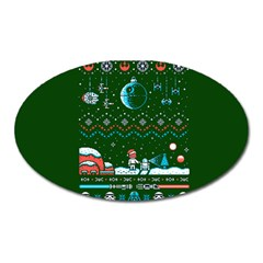 That Snow Moon Star Wars  Ugly Holiday Christmas Green Background Oval Magnet