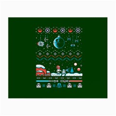 That Snow Moon Star Wars  Ugly Holiday Christmas Green Background Small Glasses Cloth