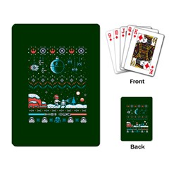 That Snow Moon Star Wars  Ugly Holiday Christmas Green Background Playing Card