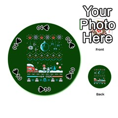 That Snow Moon Star Wars  Ugly Holiday Christmas Green Background Playing Cards 54 (Round)
