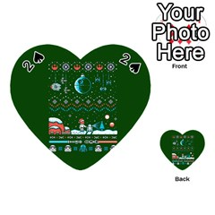 That Snow Moon Star Wars  Ugly Holiday Christmas Green Background Playing Cards 54 (heart)