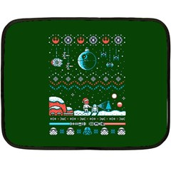 That Snow Moon Star Wars  Ugly Holiday Christmas Green Background Double Sided Fleece Blanket (mini)