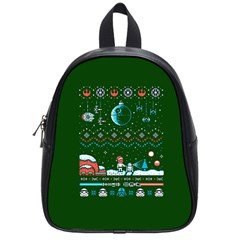 That Snow Moon Star Wars  Ugly Holiday Christmas Green Background School Bags (small)