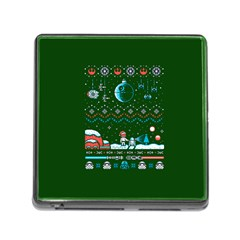 That Snow Moon Star Wars  Ugly Holiday Christmas Green Background Memory Card Reader (square)