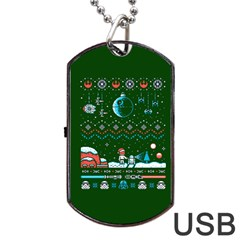 That Snow Moon Star Wars  Ugly Holiday Christmas Green Background Dog Tag Usb Flash (two Sides)