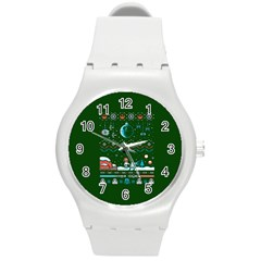 That Snow Moon Star Wars  Ugly Holiday Christmas Green Background Round Plastic Sport Watch (m)