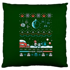 That Snow Moon Star Wars  Ugly Holiday Christmas Green Background Large Cushion Case (two Sides)