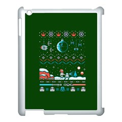 That Snow Moon Star Wars  Ugly Holiday Christmas Green Background Apple Ipad 3/4 Case (white)