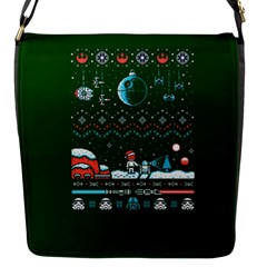 That Snow Moon Star Wars  Ugly Holiday Christmas Green Background Flap Messenger Bag (s)