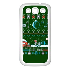 That Snow Moon Star Wars  Ugly Holiday Christmas Green Background Samsung Galaxy S3 Back Case (white)
