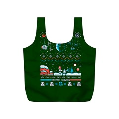 That Snow Moon Star Wars  Ugly Holiday Christmas Green Background Full Print Recycle Bags (s)