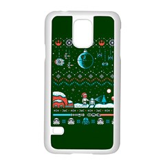 That Snow Moon Star Wars  Ugly Holiday Christmas Green Background Samsung Galaxy S5 Case (white)