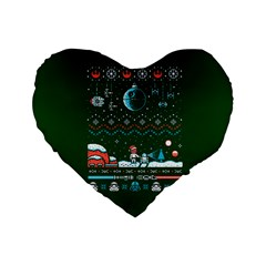 That Snow Moon Star Wars  Ugly Holiday Christmas Green Background Standard 16  Premium Flano Heart Shape Cushions