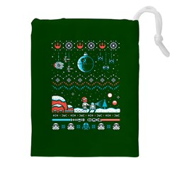 That Snow Moon Star Wars  Ugly Holiday Christmas Green Background Drawstring Pouches (xxl)