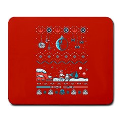 That Snow Moon Star Wars  Ugly Holiday Christmas Red Background Large Mousepads