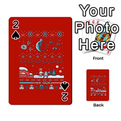 That Snow Moon Star Wars  Ugly Holiday Christmas Red Background Playing Cards 54 Designs