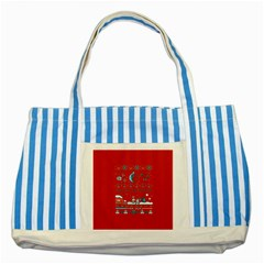 That Snow Moon Star Wars  Ugly Holiday Christmas Red Background Striped Blue Tote Bag