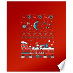 That Snow Moon Star Wars  Ugly Holiday Christmas Red Background Canvas 8  X 10