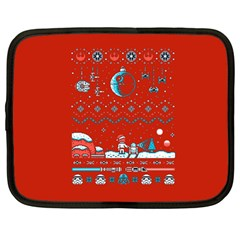 That Snow Moon Star Wars  Ugly Holiday Christmas Red Background Netbook Case (large)