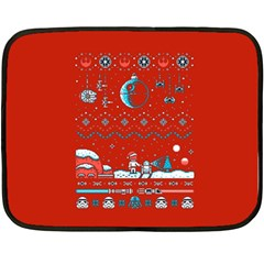 That Snow Moon Star Wars  Ugly Holiday Christmas Red Background Fleece Blanket (mini)