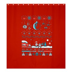 That Snow Moon Star Wars  Ugly Holiday Christmas Red Background Shower Curtain 66  X 72  (large)