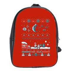 That Snow Moon Star Wars  Ugly Holiday Christmas Red Background School Bags(large)