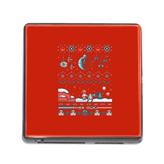 That Snow Moon Star Wars  Ugly Holiday Christmas Red Background Memory Card Reader (square)