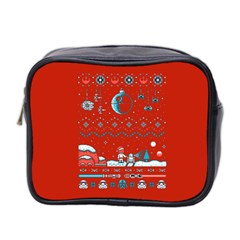 That Snow Moon Star Wars  Ugly Holiday Christmas Red Background Mini Toiletries Bag 2 Side