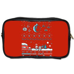 That Snow Moon Star Wars  Ugly Holiday Christmas Red Background Toiletries Bags 2 Side
