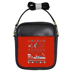 That Snow Moon Star Wars  Ugly Holiday Christmas Red Background Girls Sling Bags