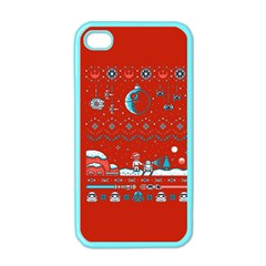 That Snow Moon Star Wars  Ugly Holiday Christmas Red Background Apple Iphone 4 Case (color)