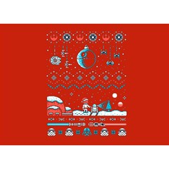 That Snow Moon Star Wars  Ugly Holiday Christmas Red Background Birthday Cake 3D Greeting Card (7x5)