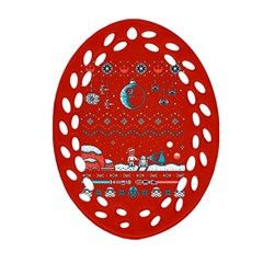 That Snow Moon Star Wars  Ugly Holiday Christmas Red Background Oval Filigree Ornament (2 Side)