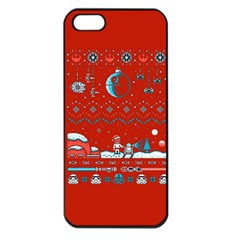 That Snow Moon Star Wars  Ugly Holiday Christmas Red Background Apple Iphone 5 Seamless Case (black)
