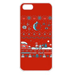 That Snow Moon Star Wars  Ugly Holiday Christmas Red Background Apple Iphone 5 Seamless Case (white)