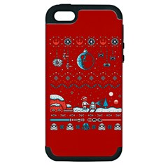That Snow Moon Star Wars  Ugly Holiday Christmas Red Background Apple Iphone 5 Hardshell Case (pc+silicone)