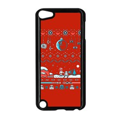 That Snow Moon Star Wars  Ugly Holiday Christmas Red Background Apple Ipod Touch 5 Case (black)
