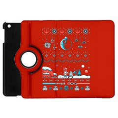 That Snow Moon Star Wars  Ugly Holiday Christmas Red Background Apple Ipad Mini Flip 360 Case