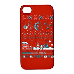 That Snow Moon Star Wars  Ugly Holiday Christmas Red Background Apple Iphone 4/4s Hardshell Case With Stand