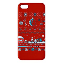 That Snow Moon Star Wars  Ugly Holiday Christmas Red Background Apple Iphone 5 Premium Hardshell Case
